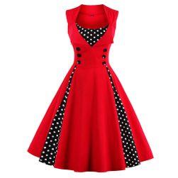 Retro sukienka w groszki - kolor czerwony