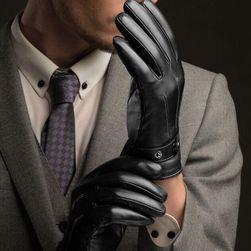 Męskie eleganckie rękawiczki ze sztucznej skóry