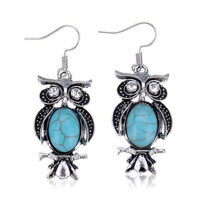 Винтидж обици със сини камъчета 1