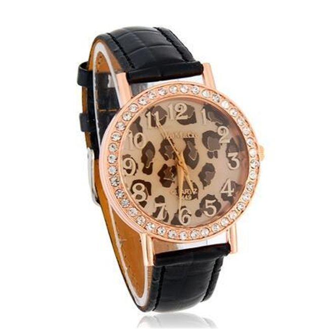Damski zegarek z wzorem lamparta z błyszczącymi kamyczkami - 3 kolory 1