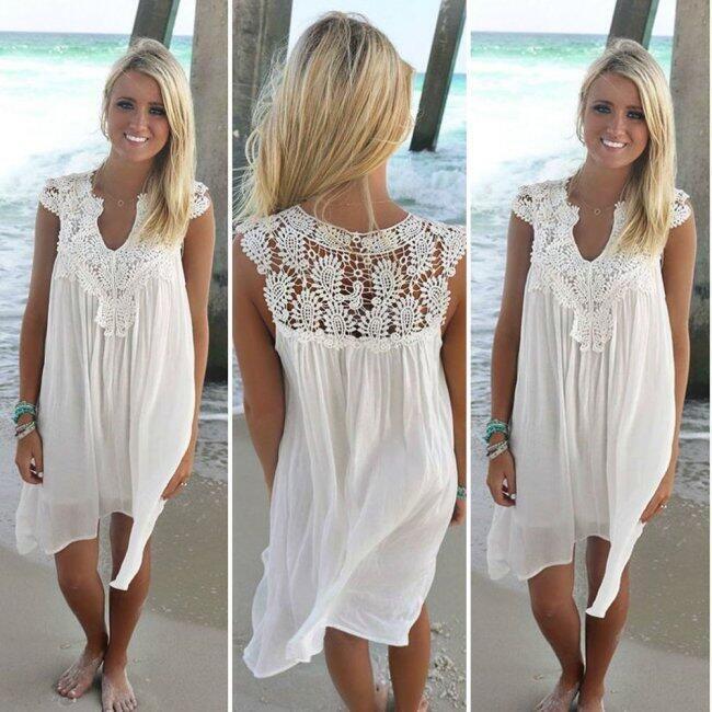 Dámské šaty s krajkou - Bílá-velikost č. 4 1