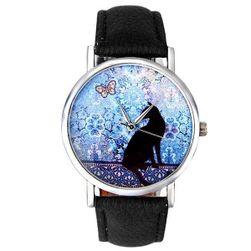 Jemné hodinky s černou kočkou a motýlem