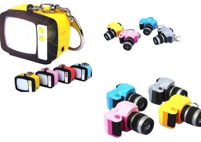 Svítící klíčenka se supersvítivou LED diodou - fotoaparát, televize 1