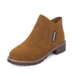 Dámské semišové boty - Hnědá-39