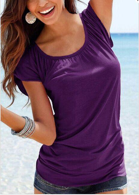 Dámské tričko s kulatým výstřihem - Fialová, velikost 2 1