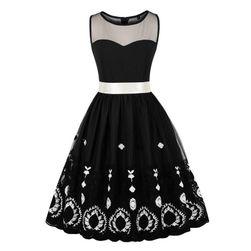 Dámské černobílé šaty s ozdobnou mašlí