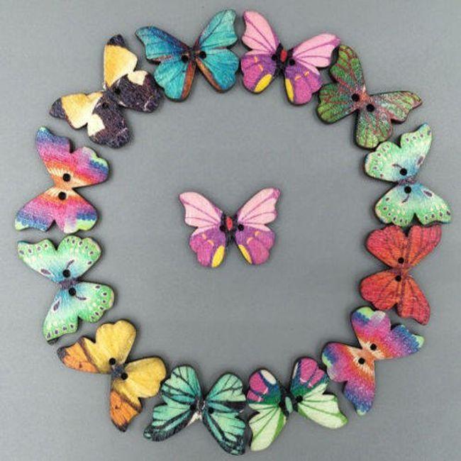 Leseni gumbi v obliki metuljev - 50 kosov 1