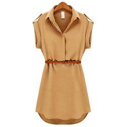 Платье-рубашка с поясом- 2 цвета