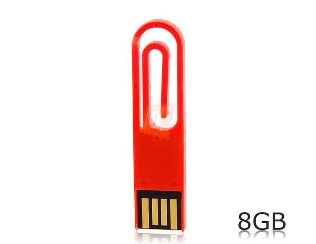 8GB Flashdisk - kancelářská sponka (červená) 1