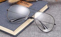 Modne okulary pilotki z przezroczystymi szkłami - 3 kolory
