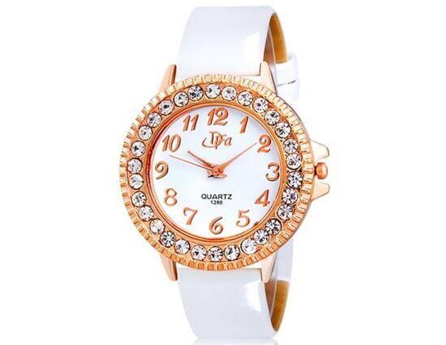 Damski zegarek z kamyczkami na kopercie zegarka - kolor biały 1