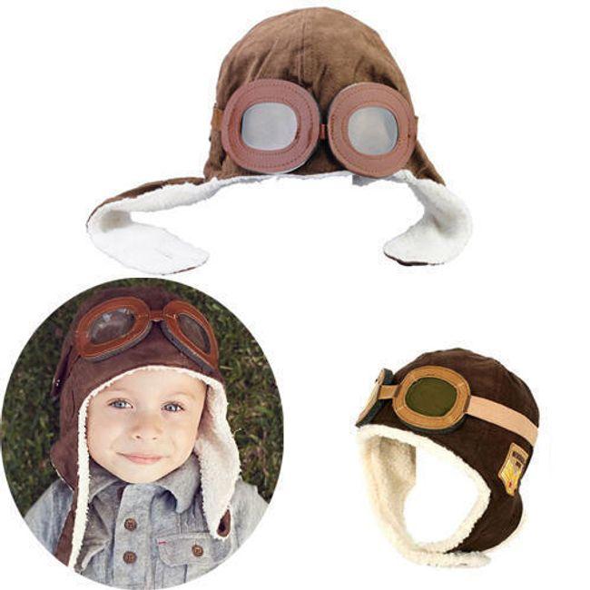 Gyerek retro kalap - pilóta - 2 színben 1