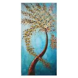 Bezrámový abstraktní obraz - Rozkvetlá větev ve větru