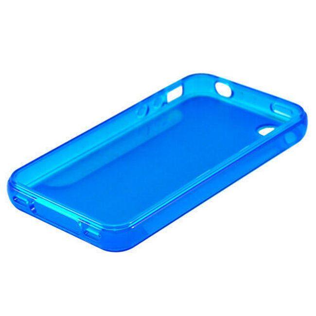 Průhledné ochranné pouzdro pro iPhone 4 a 4S - modré polomatné 1