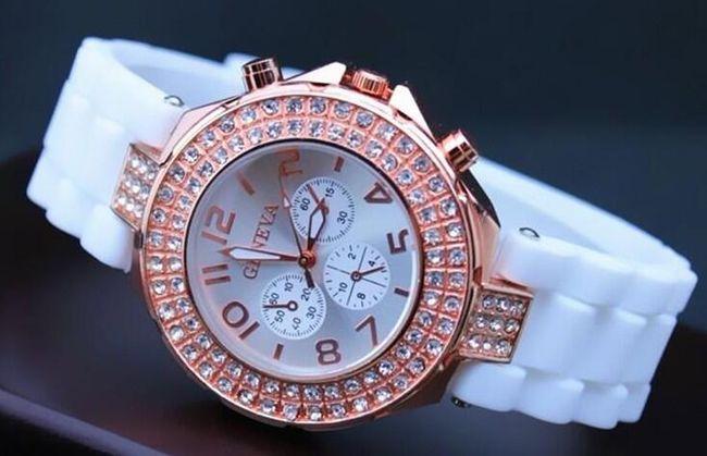 Geneva zegarek z kamyczkami i silikonowym paskiem 1