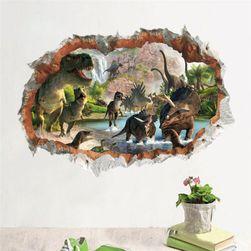 3Д стикер за стена - поток с динозавъри