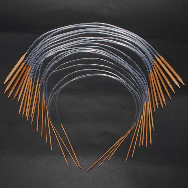 Sada 18 bambusových jehlic na pletení - různé velikosti 1