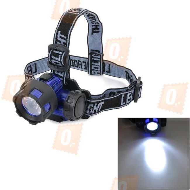 LED diodová čelovka na 3x AAA baterie - modrá 1