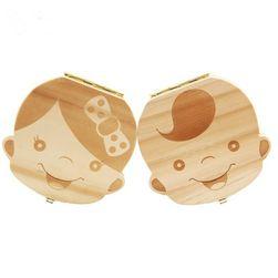 Дървена кутийка за детски зъби с чешки надписи - момче