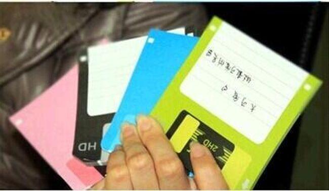 Poznámkový blok s designem diskety - 4 barvy v balení 1