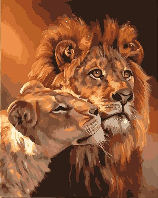 Slikanje po številkah - družina levov 1