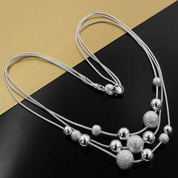 Colier elegant cu bile - argintiu