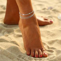 Браслет на ногу с мелкими кристаллами