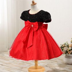 Dívčí šaty s velkou mašlí a bohatou sukní - více barev