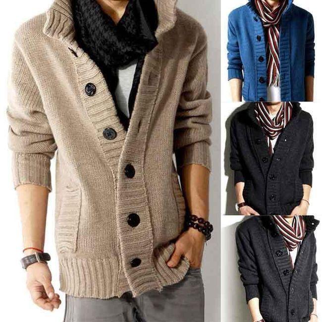 Teplý pánský svetr na zapínání 1