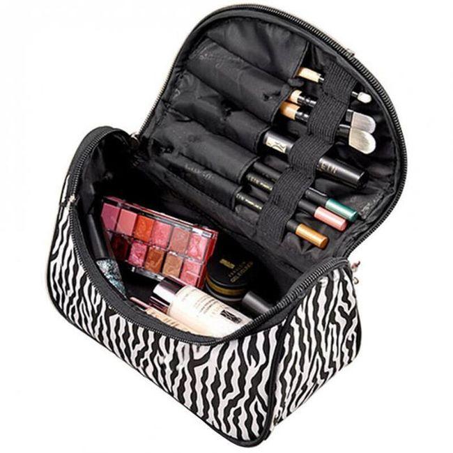 Zebrovaná taštička na kosmetické štětce a makeup 1