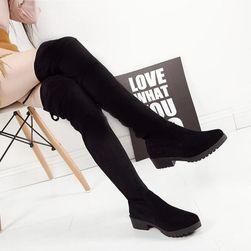 Ženske zimske čizme iznad kolena - crna boja