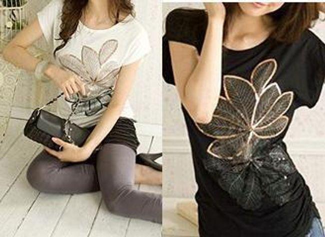 Dámské módní tričko s motivem květiny - na výběr ze 2 barev 1