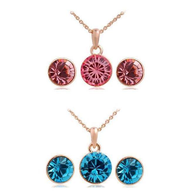 Elegantní sada náušnic a náhrdelníku se třpytivými kameny ve 2 barvách 1