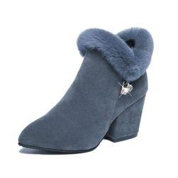 Členkové topánky na podpätku s kožušinkou