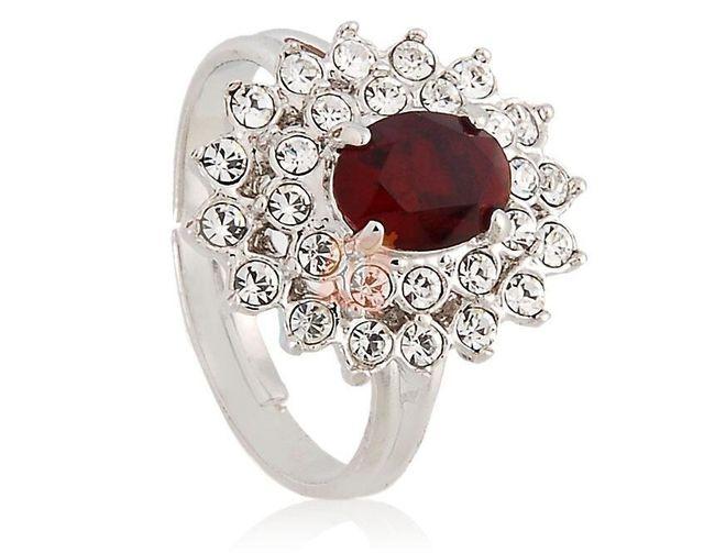 Prstýnek s rudým kamenem a kamínky - stříbrná barva 1