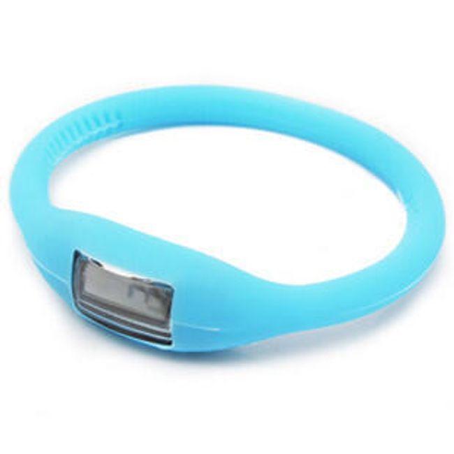 Digitální silikonové hodinky ION - Světle modré 1