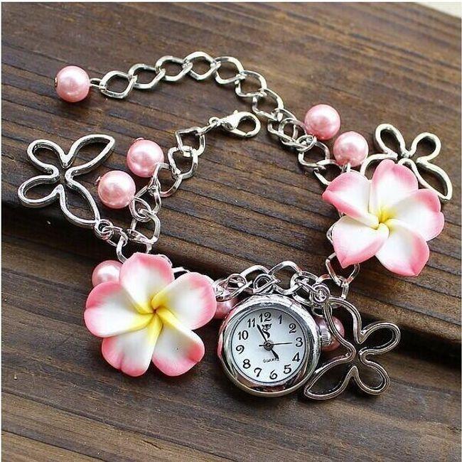 Bratara cu ceas decorativ si flori - 5 culori 1