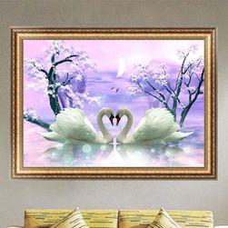 DIY картина- Влюбленные лебеди