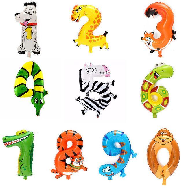 Воздушные шары с  животными и числами - 1 шт. 1