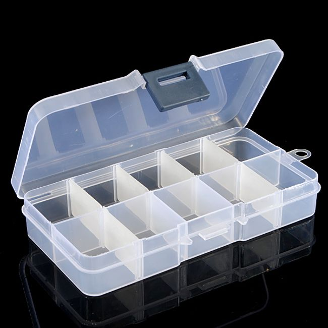 Úložný box s 10 přihrádkami pro ukládání dekorací na nehty - bílý 1