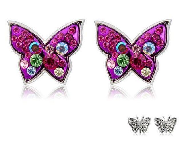 Náušnice ve tvaru motýla zdobené barevnými či čirými kamínky 1
