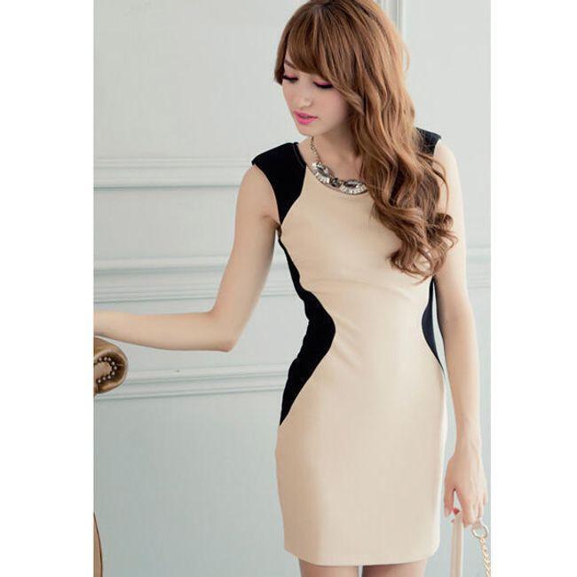 Dámské šaty s barevným kontrastem 1