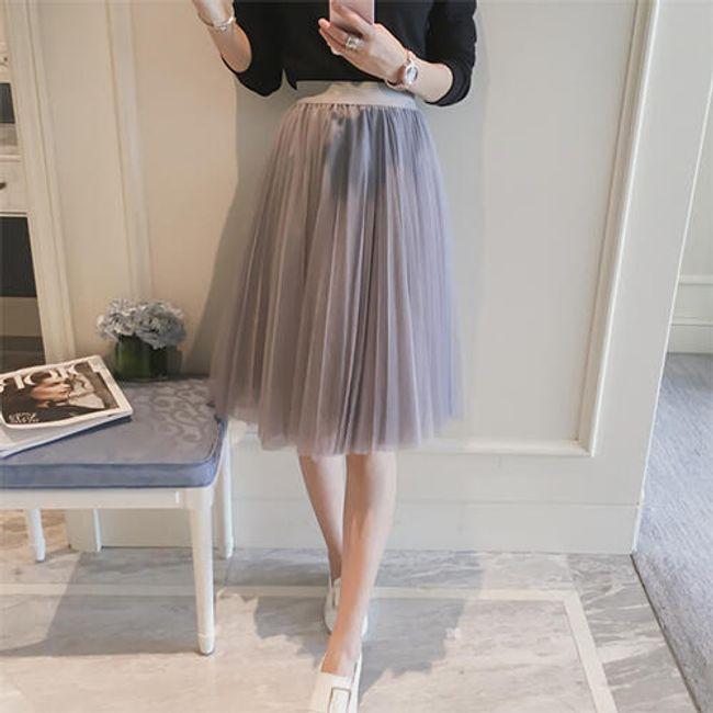 Krásná tylová sukně ke kolenům - Šedá 1