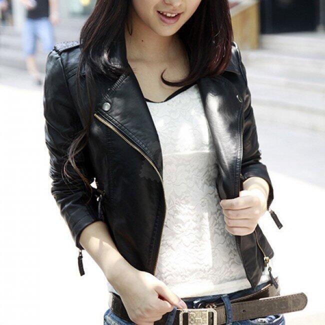 Dámská kožená bunda se zipem na straně - Černá-velikost č. 3 1