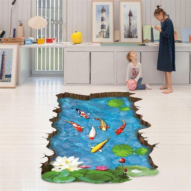 3D nálepka na podlahu - jezírko 1