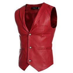 Pánská vesta z umělé kůže - 3 barvy