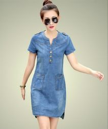 Джинсовое платье с карманами- 2 варианта