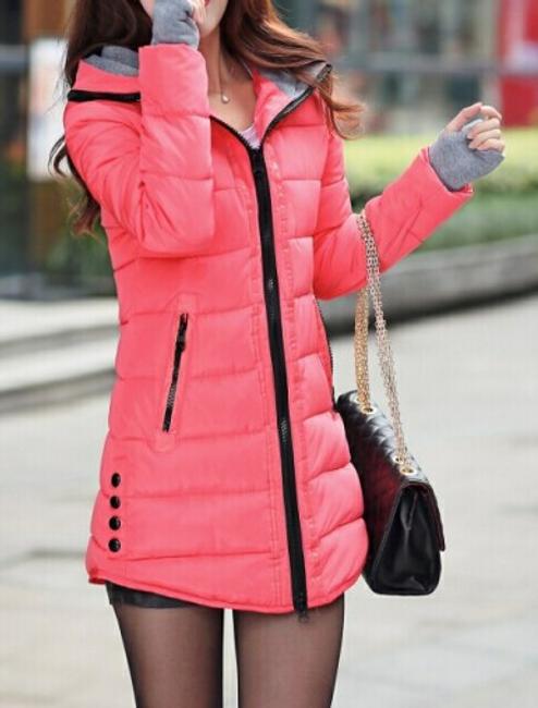 Prošívaná zimní bunda Pia - Tmavě růžová - velikost č. S 1