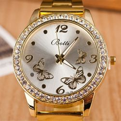 Zegarek koloru złotego z motylkami