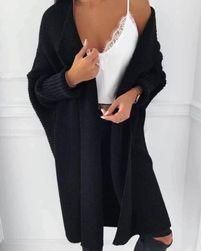 Dlouhý pletený cardigan - černý